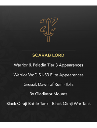 Scarab Lord - 2x T3 - 3x Gladiator - Primal & Wild Elite - Gressil & Iblis - Black Qiraji Battle & War Tank