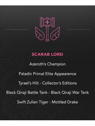 Scarab Lord – Tyrael's Hilt - Phenomenal Cosmic Power - OG CE's - Black Qiraji Battle Tank - Swift Zulian Tiger